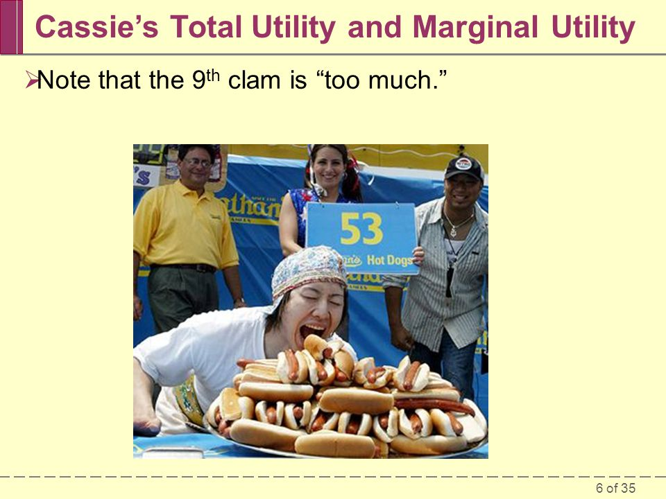 6 of 35 Cassie's Total Utility and Marginal Utility  Note that the 9 th clam is too much.