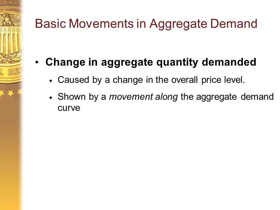 Basic Movements in Aggregate Demand Change in aggregate quantity demanded  Caused by a change in the overall price level.