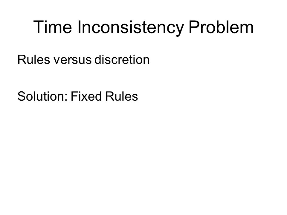 Time Inconsistency Problem Rules versus discretion Solution: Fixed Rules