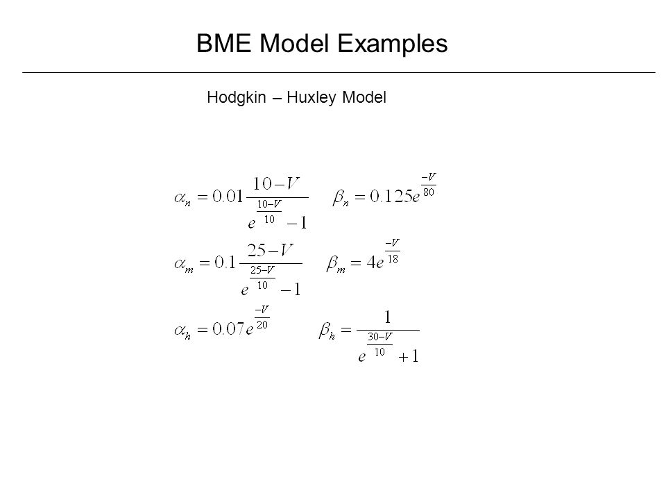BME Model Examples Hodgkin – Huxley Model