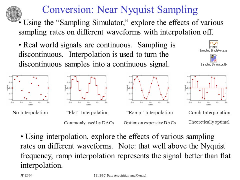 JF 12/04111 BSC Data Acquisition and Control Conversion: Near Nyquist Sampling Using the Sampling Simulator, explore the effects of various sampling rates on different waveforms with interpolation off.