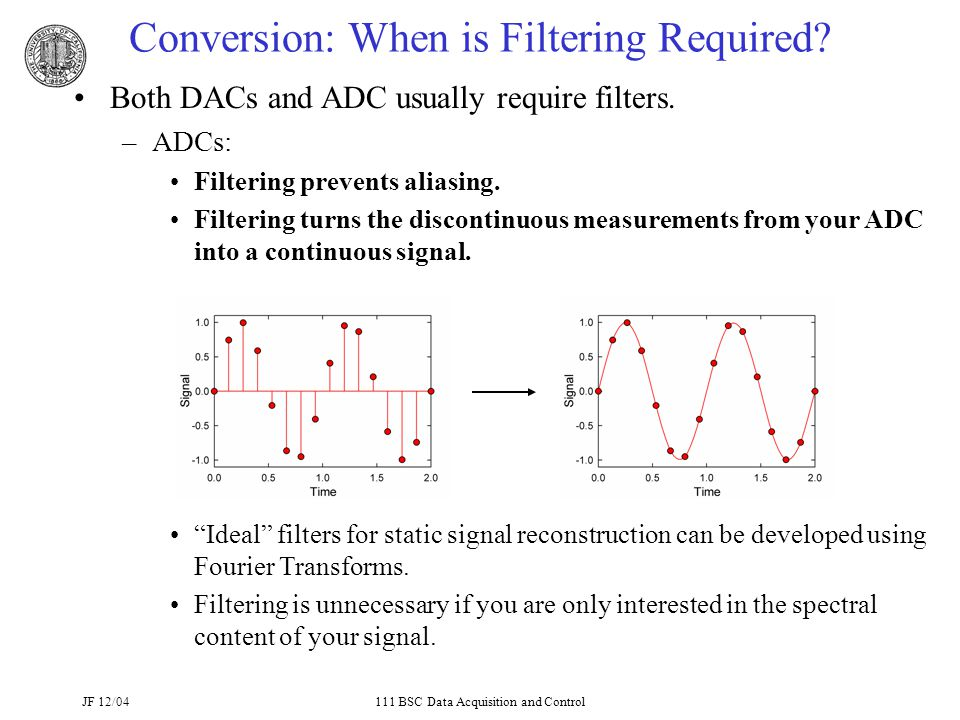 JF 12/04111 BSC Data Acquisition and Control Conversion: When is Filtering Required.