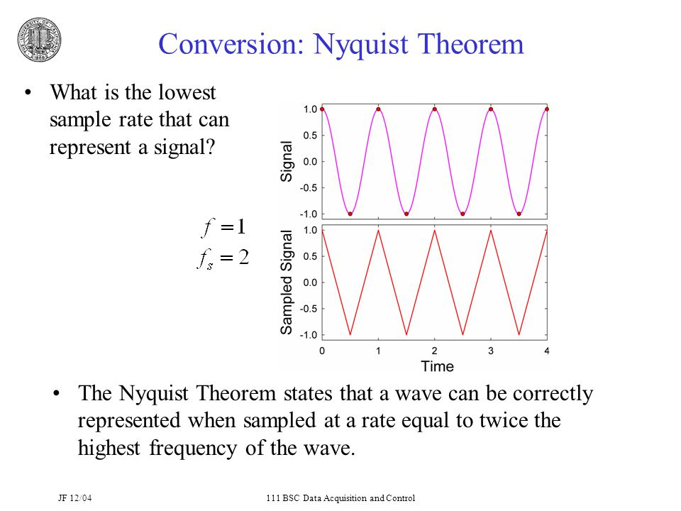 JF 12/04111 BSC Data Acquisition and Control Conversion: Nyquist Theorem What is the lowest sample rate that can represent a signal.