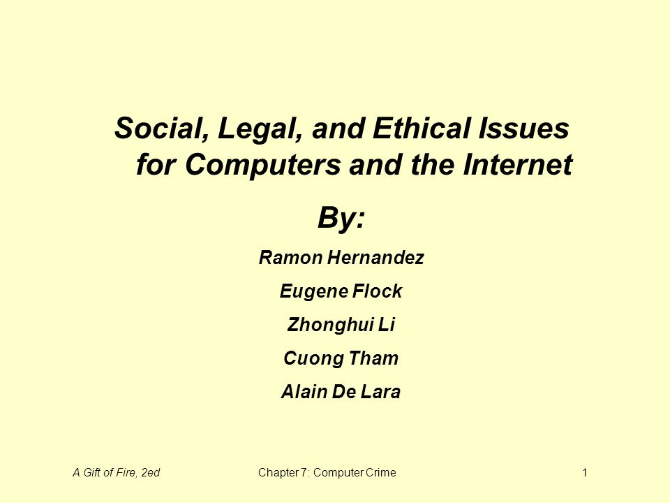 A Gift of Fire, 2edChapter 7: Computer Crime1 Social, Legal, and ...