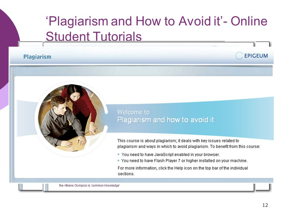 12 'Plagiarism and How to Avoid it'- Online Student Tutorials