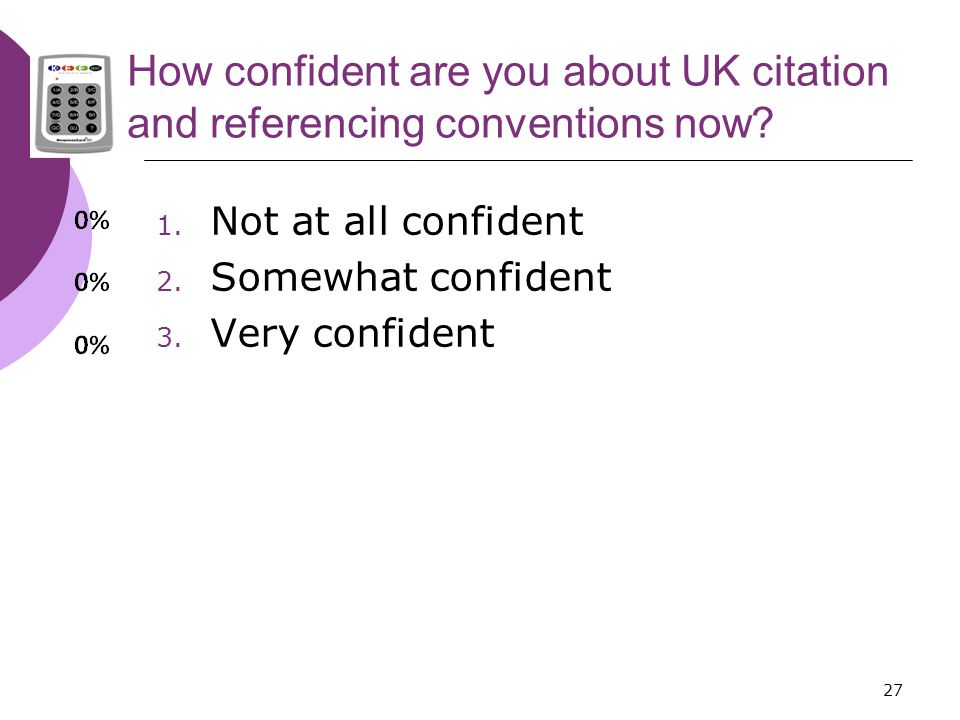 27 How confident are you about UK citation and referencing conventions now.