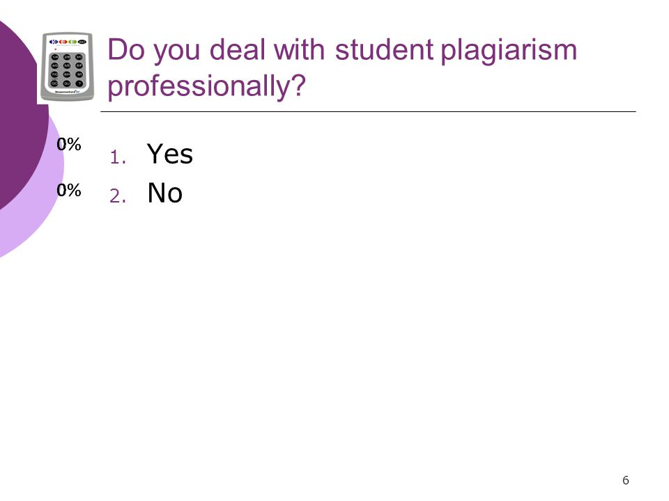 6 Do you deal with student plagiarism professionally 1. Yes 2. No