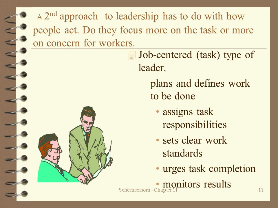 Schermerhorn - Chapter 1111 A 2 nd approach to leadership has to do with how people act. Do they focus more on the task or more on concern for workers