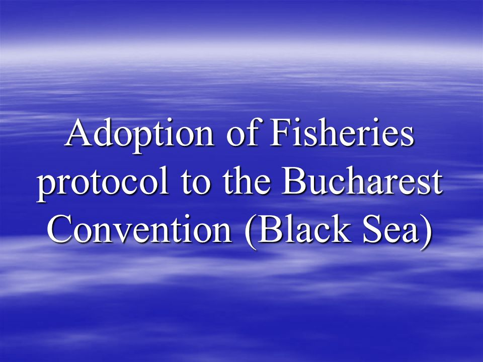 Adoption of Fisheries protocol to the Bucharest Convention (Black Sea)