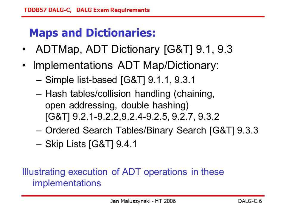 TDDB57 DALG-C, DALG Exam Requirements Jan Maluszynski - HT 2006DALG-C.6 Maps and Dictionaries: ADTMap, ADT Dictionary [G&T] 9.1, 9.3 Implementations ADT Map/Dictionary: –Simple list-based [G&T] 9.1.1, –Hash tables/collision handling (chaining, open addressing, double hashing) [G&T] , , 9.2.7, –Ordered Search Tables/Binary Search [G&T] –Skip Lists [G&T] Illustrating execution of ADT operations in these implementations