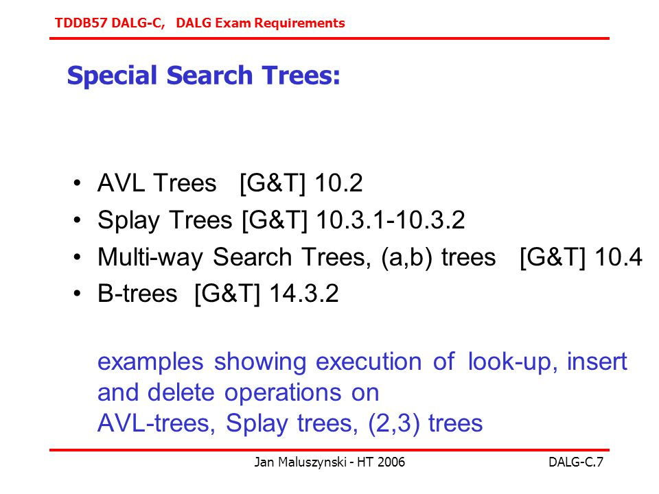 TDDB57 DALG-C, DALG Exam Requirements Jan Maluszynski - HT 2006DALG-C.7 Special Search Trees: AVL Trees [G&T] 10.2 Splay Trees [G&T] Multi-way Search Trees, (a,b) trees [G&T] 10.4 B-trees [G&T] examples showing execution of look-up, insert and delete operations on AVL-trees, Splay trees, (2,3) trees