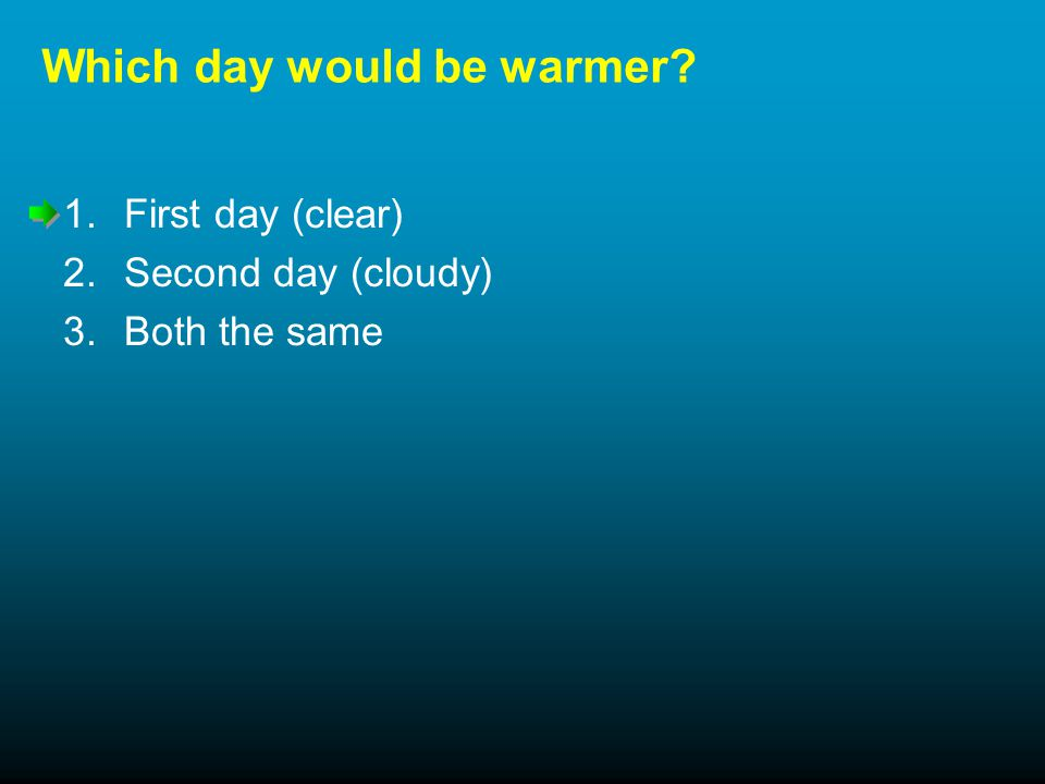 Which day would be warmer 1.First day (clear) 2.Second day (cloudy) 3.Both the same