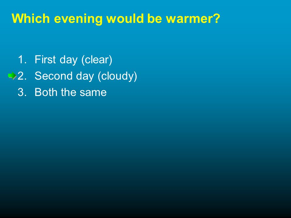 Which evening would be warmer 1.First day (clear) 2.Second day (cloudy) 3.Both the same