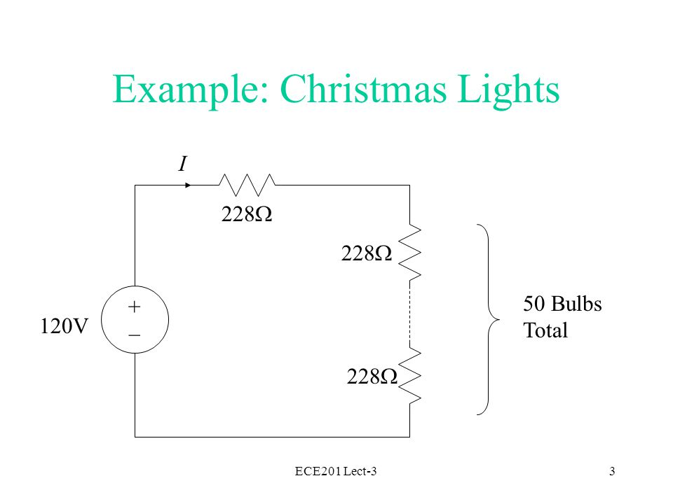 ECE201 Lect-33 Example: Christmas Lights +–+– 120V 228  50 Bulbs Total 228  I
