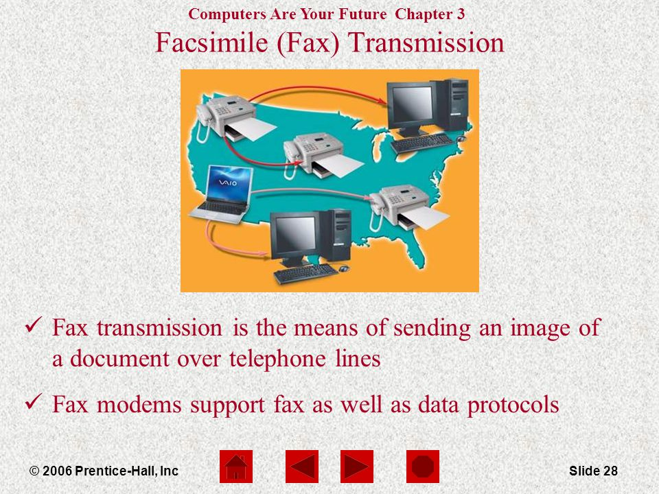 Computers Are Your Future Chapter 3 © 2006 Prentice-Hall, IncSlide 28 Facsimile (Fax) Transmission Fax transmission is the means of sending an image of a document over telephone lines Fax modems support fax as well as data protocols