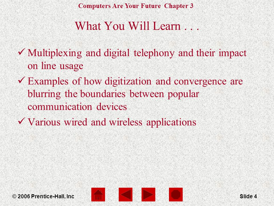 Computers Are Your Future Chapter 3 © 2006 Prentice-Hall, IncSlide 4 What You Will Learn...