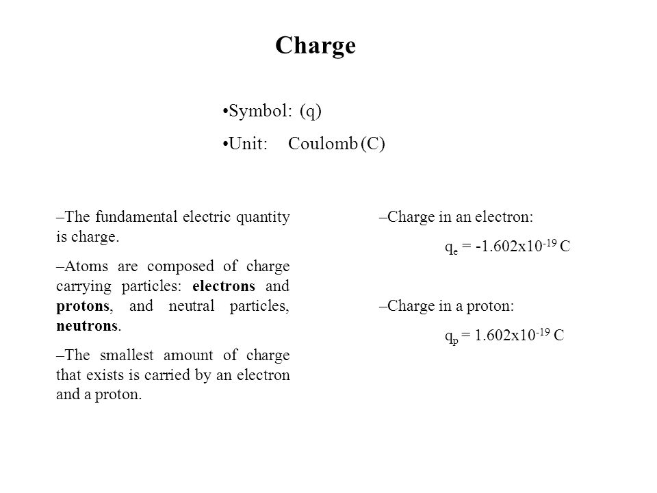 Introduction to Electricity. Symbol: (q) Unit:Coulomb (C) –The ...