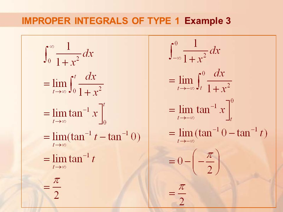 IMPROPER INTEGRALS OF TYPE 1 Example 3