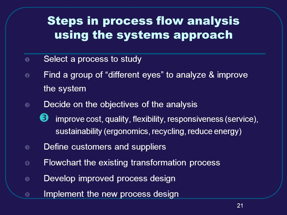 21 Steps in process flow analysis using the systems approach  Select a process to study  Find a group of different eyes to analyze & improve the system  Decide on the objectives of the analysis  improve cost, quality, flexibility, responsiveness (service), sustainability (ergonomics, recycling, reduce energy)  Define customers and suppliers  Flowchart the existing transformation process  Develop improved process design  Implement the new process design