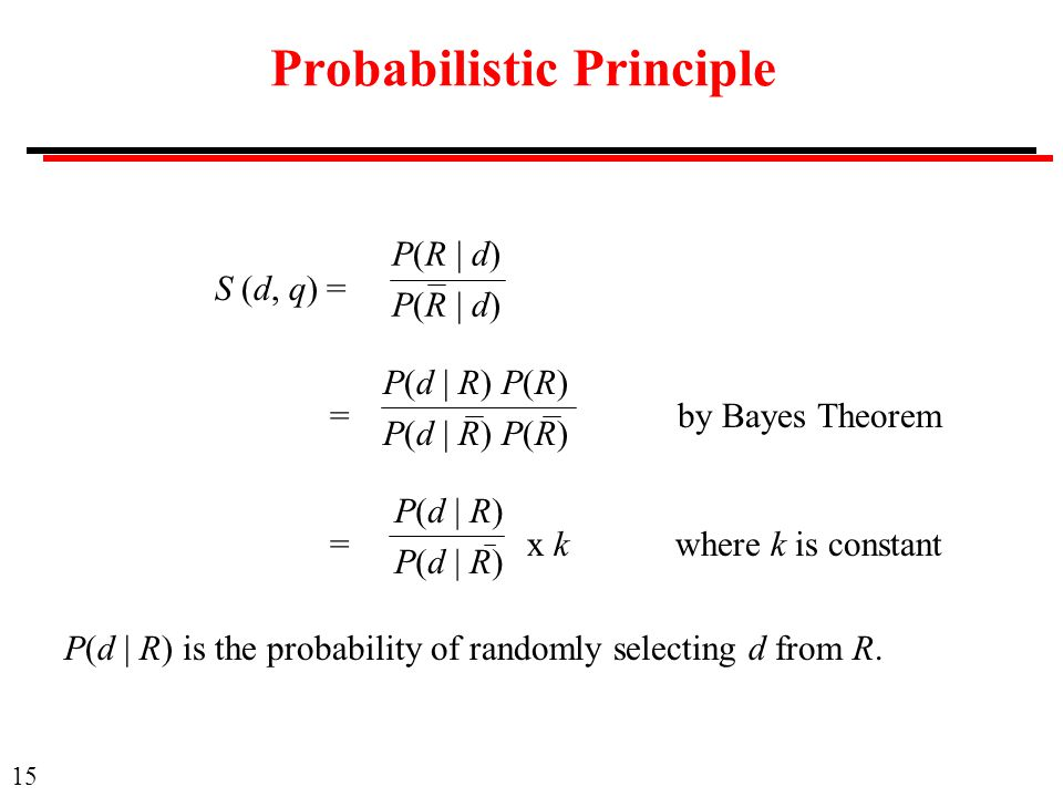 15 Probabilistic Principle S (d, q) = = by Bayes Theorem = x k where k is constant P(R | d) P(d | R) P(R) P(d | R) P(d | R) is the probability of randomly selecting d from R.