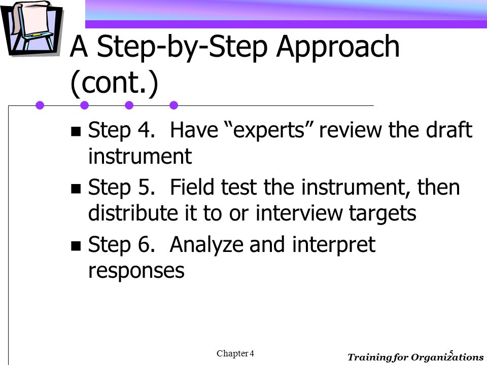 Training for Organizations Chapter 44 A Step-by-Step Approach Step 1.