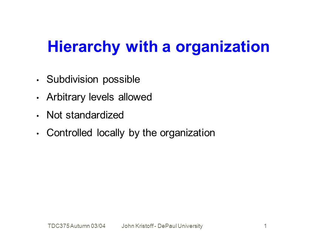 TDC375 Autumn 03/04 John Kristoff - DePaul University 1 Hierarchy with a organization Subdivision possible Arbitrary levels allowed Not standardized Controlled locally by the organization