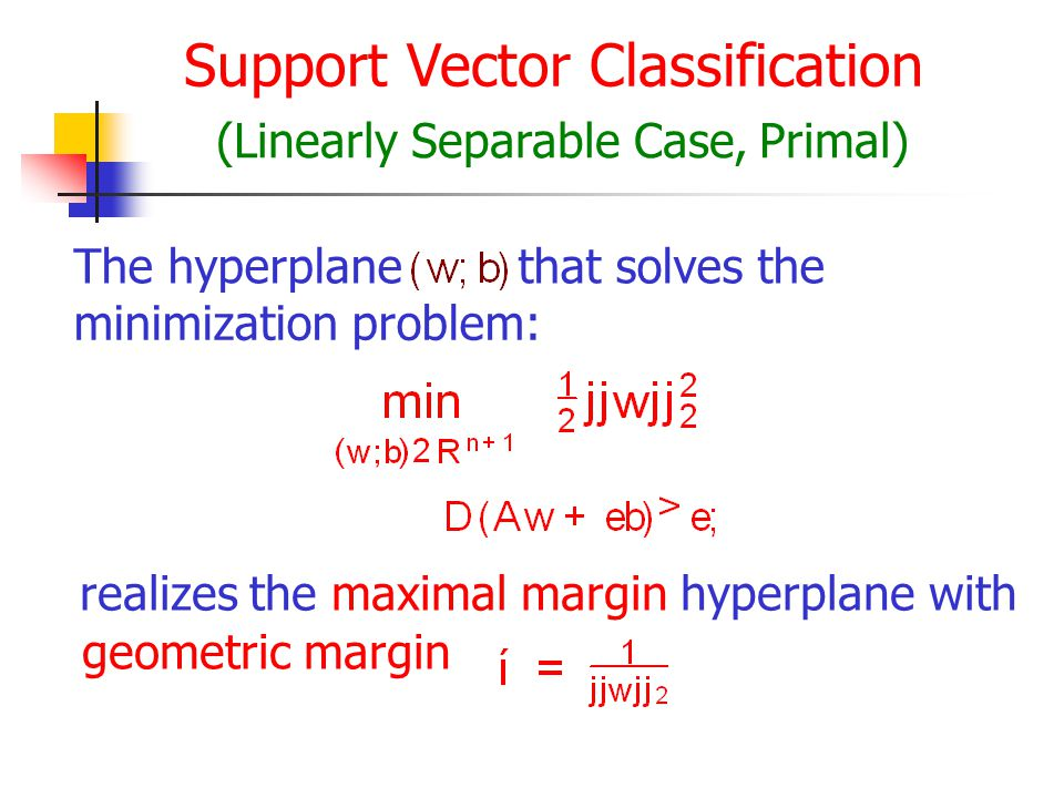 Support Vector Classification (Linearly Separable Case, Primal) The hyperplanethat solves the minimization problem: realizes the maximal margin hyperplane with geometric margin