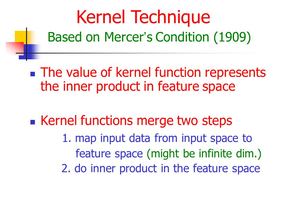 The value of kernel function represents the inner product in feature space Kernel functions merge two steps 1.