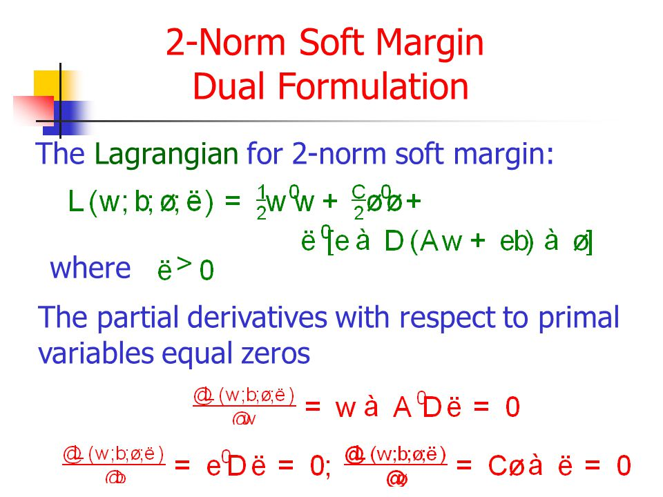 2-Norm Soft Margin Dual Formulation The Lagrangian for 2-norm soft margin: where The partial derivatives with respect to primal variables equal zeros