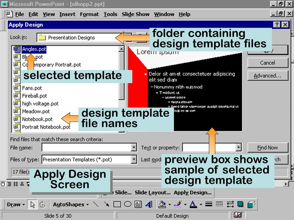 2 part ii enhancing a presentation changing the presentation, Presentation templates