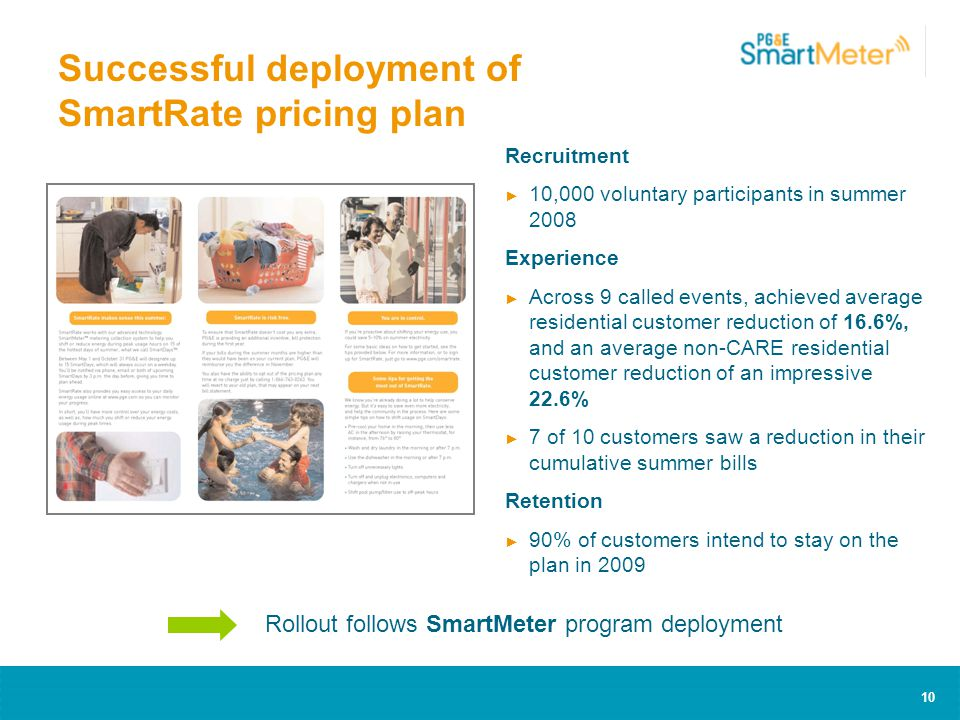 10 Successful deployment of SmartRate pricing plan Recruitment ► 10,000 voluntary participants in summer 2008 Experience ► Across 9 called events, achieved average residential customer reduction of 16.6%, and an average non-CARE residential customer reduction of an impressive 22.6% ► 7 of 10 customers saw a reduction in their cumulative summer bills Retention ► 90% of customers intend to stay on the plan in 2009 Rollout follows SmartMeter program deployment