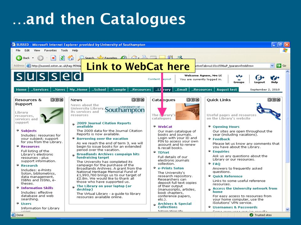 Link to WebCat here …and then Catalogues