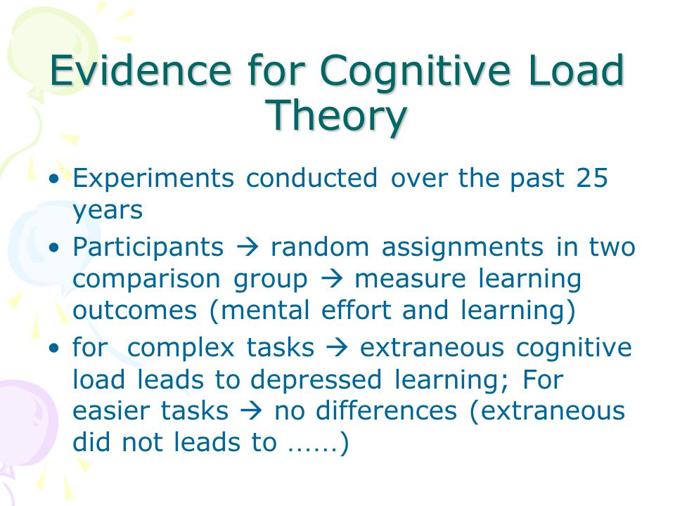 Evidence for Cognitive Load Theory Experiments conducted over the past 25 years Participants  random assignments in two comparison group  measure learning outcomes (mental effort and learning) for complex tasks  extraneous cognitive load leads to depressed learning; For easier tasks  no differences (extraneous did not leads to …… )
