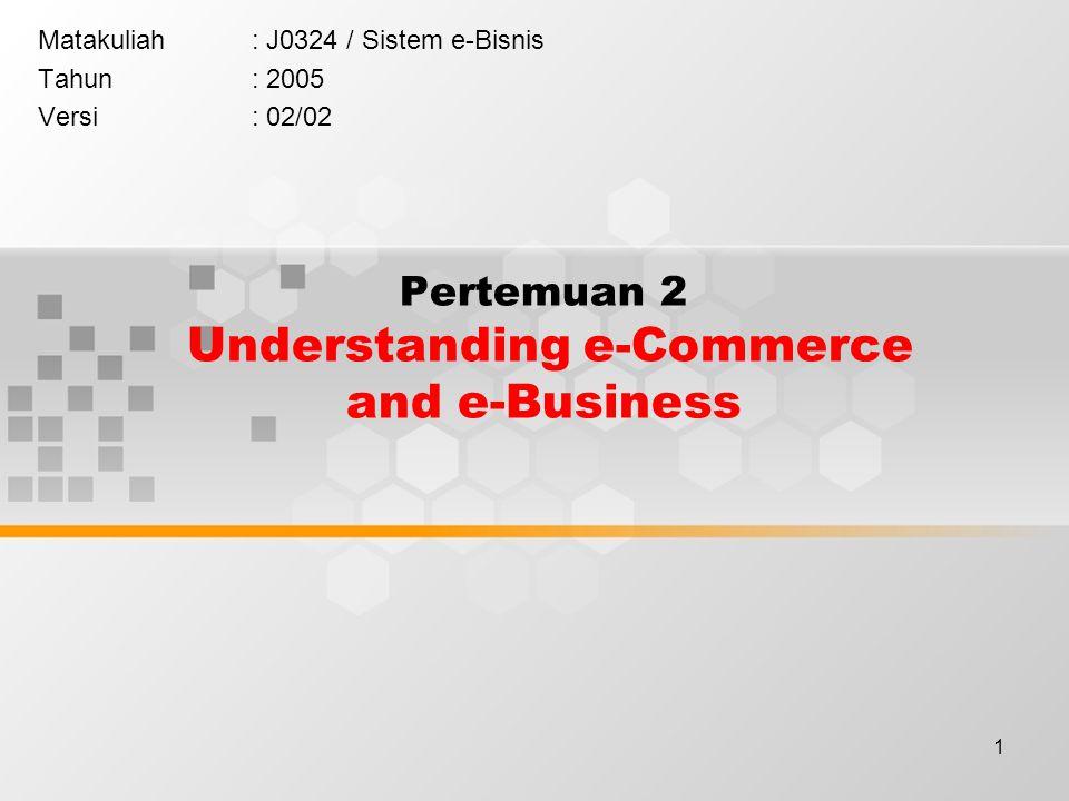1 Pertemuan 2 Understanding e-Commerce and e-Business Matakuliah: J0324 / Sistem e-Bisnis Tahun: 2005 Versi: 02/02