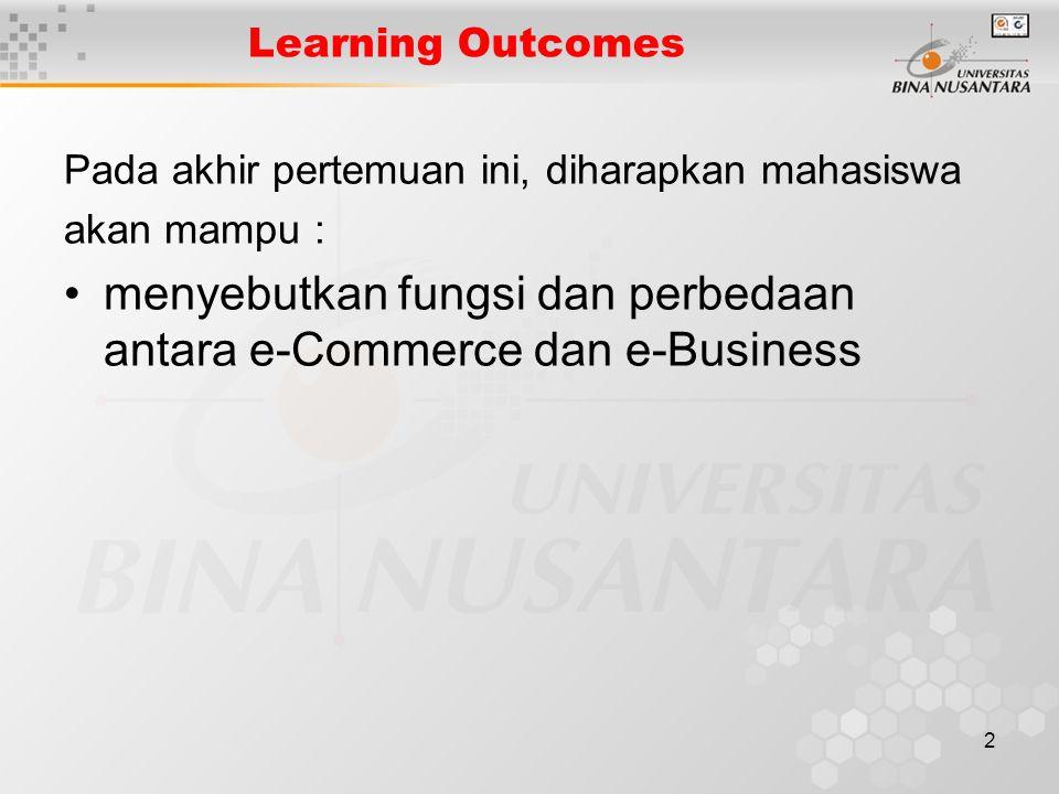 2 Learning Outcomes Pada akhir pertemuan ini, diharapkan mahasiswa akan mampu : menyebutkan fungsi dan perbedaan antara e-Commerce dan e-Business