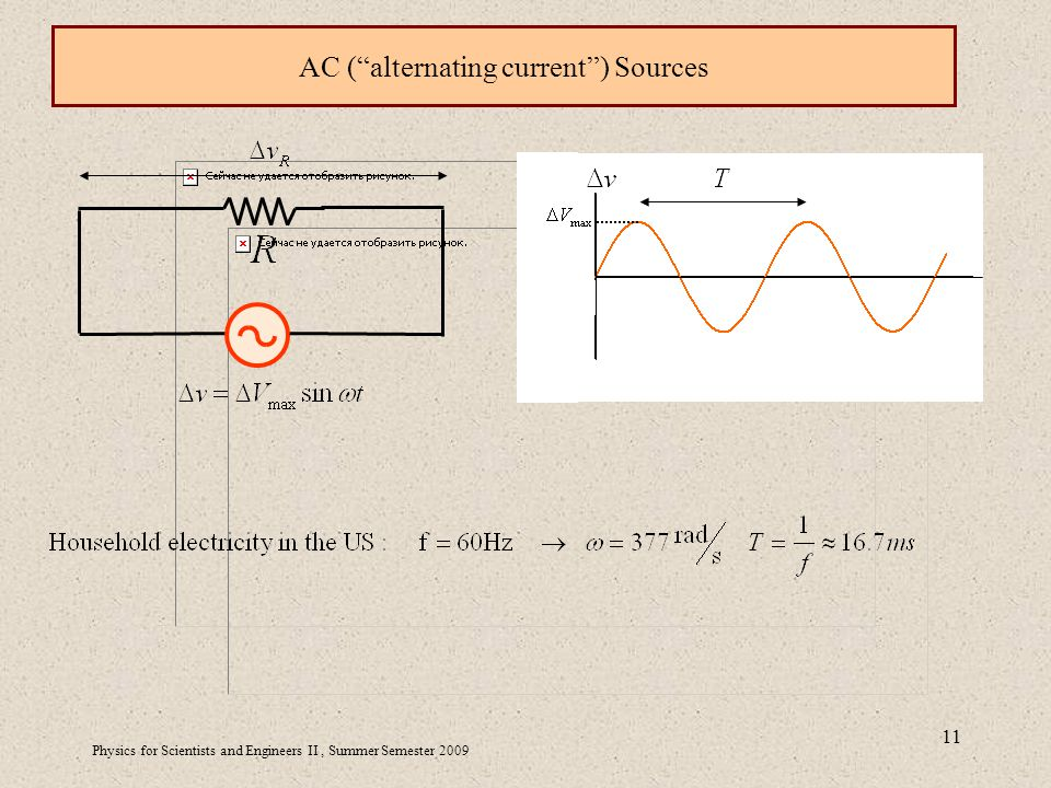 Physics for Scientists and Engineers II, Summer Semester AC ( alternating current ) Sources
