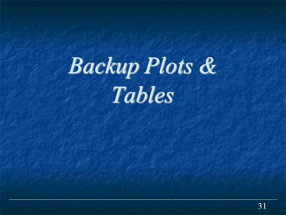 31 Backup Plots & Tables