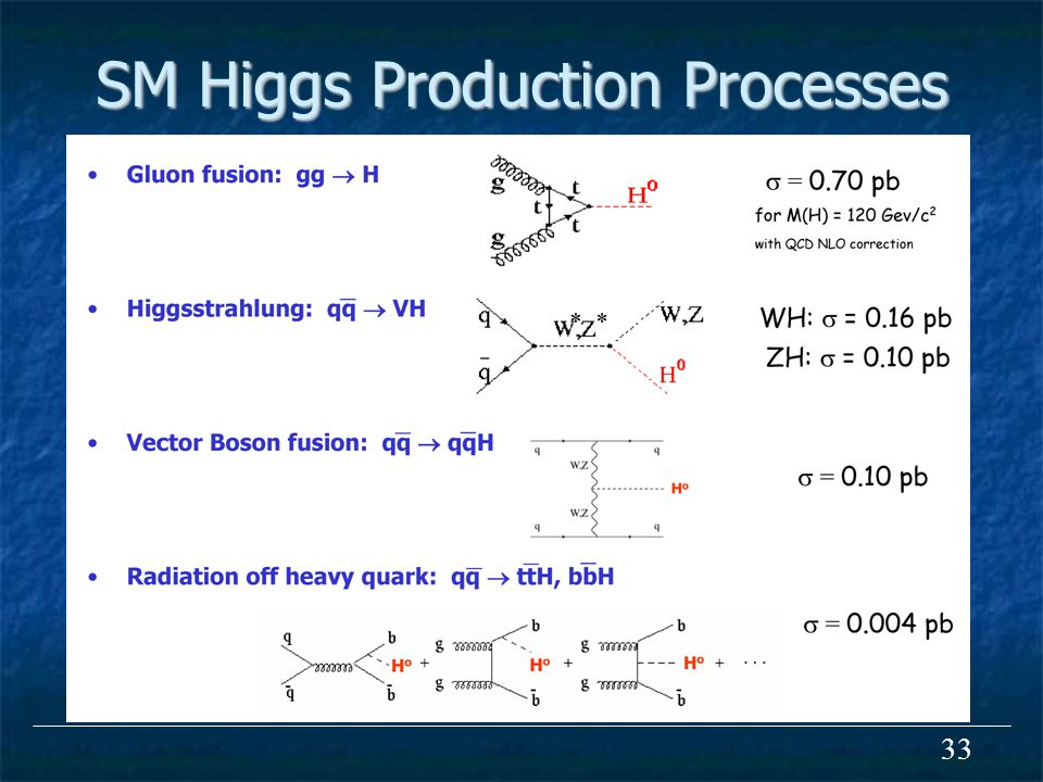 33 SM Higgs Production Processes