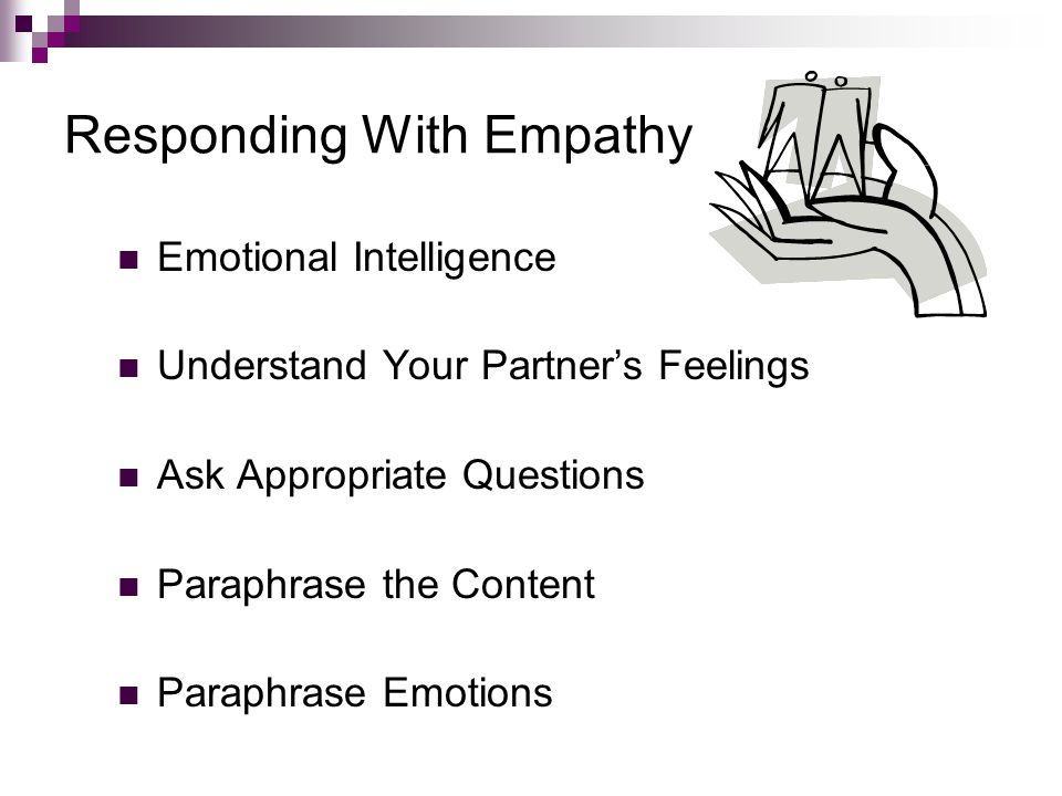 Responding With Empathy Emotional Intelligence Understand Your Partner's Feelings Ask Appropriate Questions Paraphrase the Content Paraphrase Emotions Chapter 5: Listening and Responding