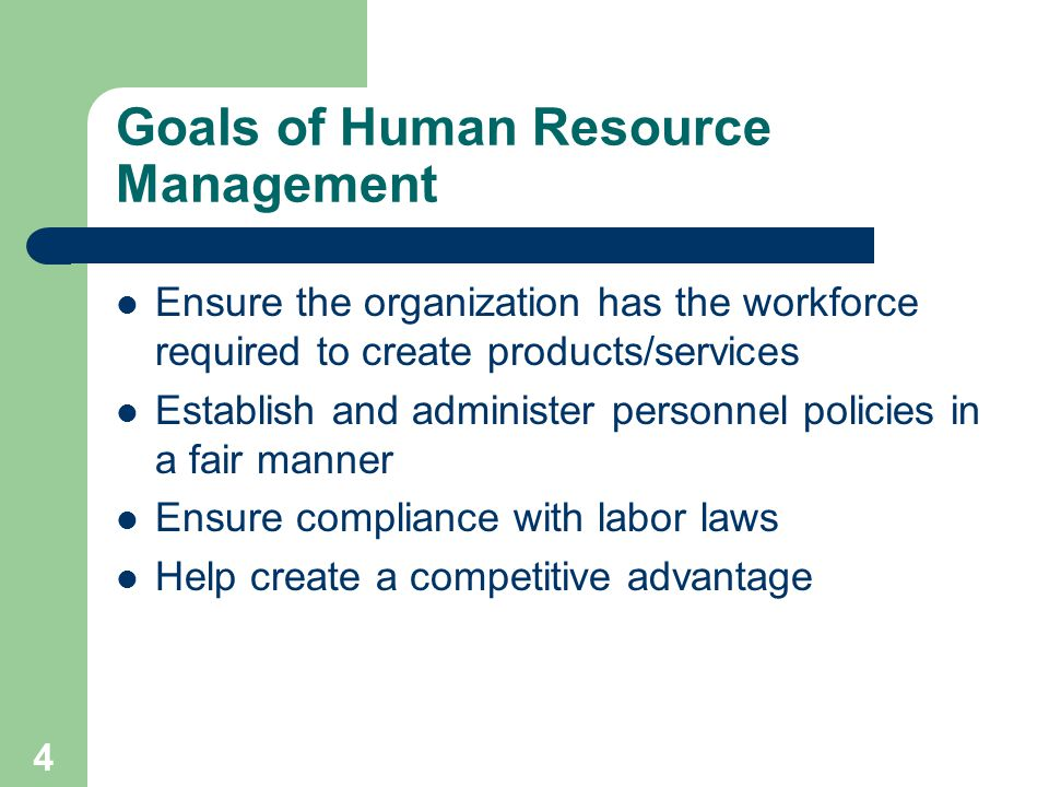 4 Goals of Human Resource Management Ensure the organization has the workforce required to create products/services Establish and administer personnel policies in a fair manner Ensure compliance with labor laws Help create a competitive advantage