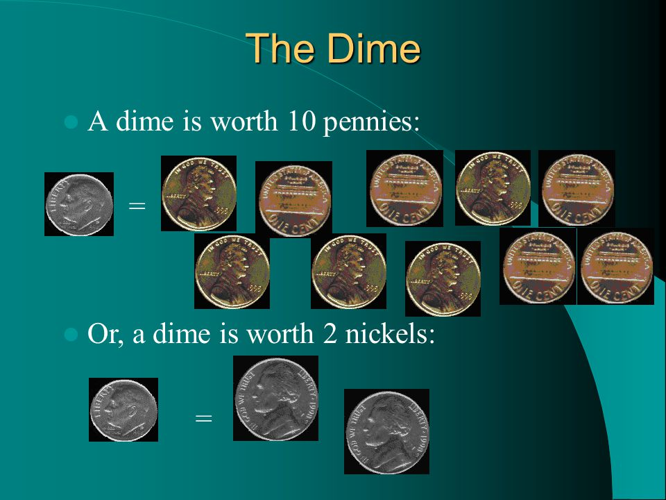 Or, a dime is worth 2 nickels: = The Dime A dime is worth 10 pennies: =