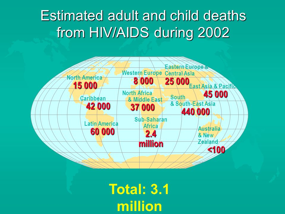 Estimated adult and child deaths from HIV/AIDS during 2002 Total: 3.1 million Western Europe North Africa & Middle East Sub-Saharan Africa 2.4 million Eastern Europe & Central Asia East Asia & Pacific South & South-East Asia Australia & New Zealand<100 North America Caribbean Latin America