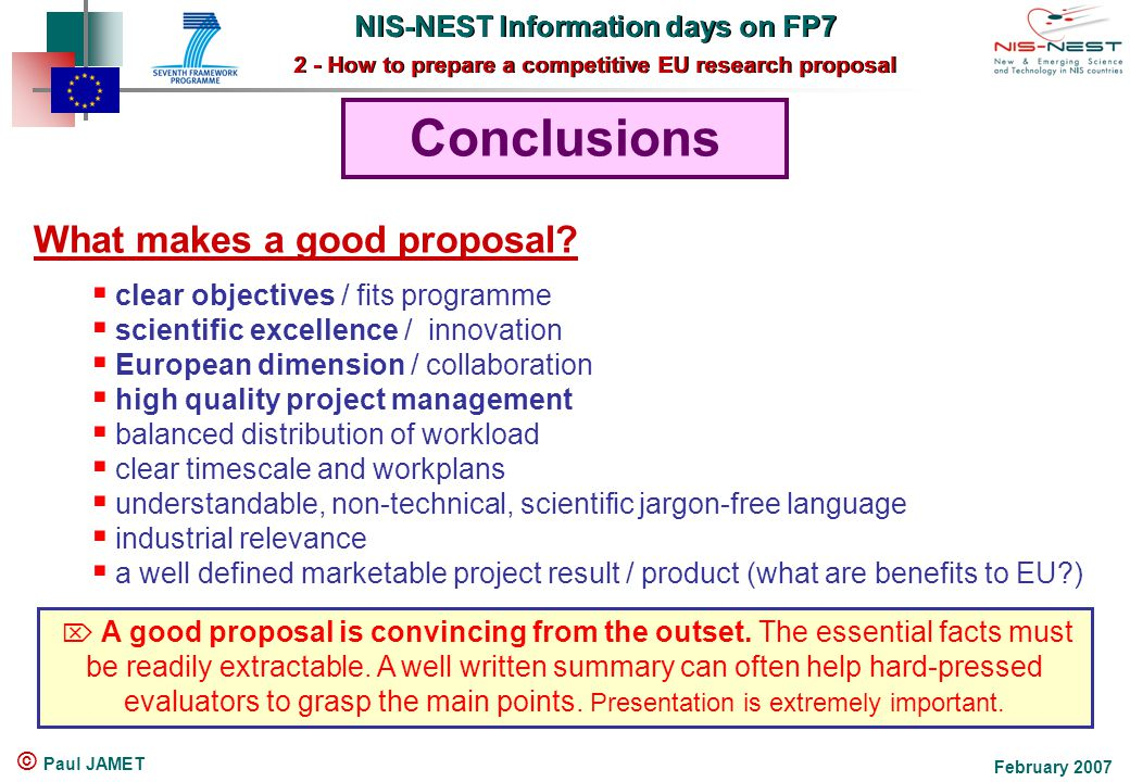 Nis Nest Information Days On Fp7 2 How To Prepare A Competitive Eu