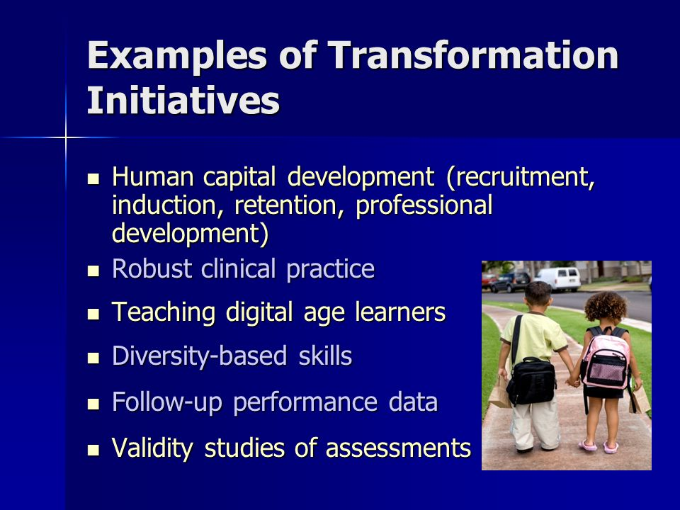 Examples of Transformation Initiatives Human capital development (recruitment, induction, retention, professional development) Human capital development (recruitment, induction, retention, professional development) Robust clinical practice Robust clinical practice Teaching digital age learners Teaching digital age learners Diversity-based skills Diversity-based skills Follow-up performance data Follow-up performance data Validity studies of assessments Validity studies of assessments