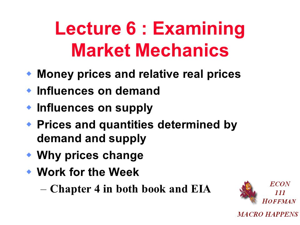 Lecture 6 : Examining Market Mechanics  Money prices and relative real prices  Influences on demand  Influences on supply  Prices and quantities determined by demand and supply  Why prices change  Work for the Week –Chapter 4 in both book and EIA