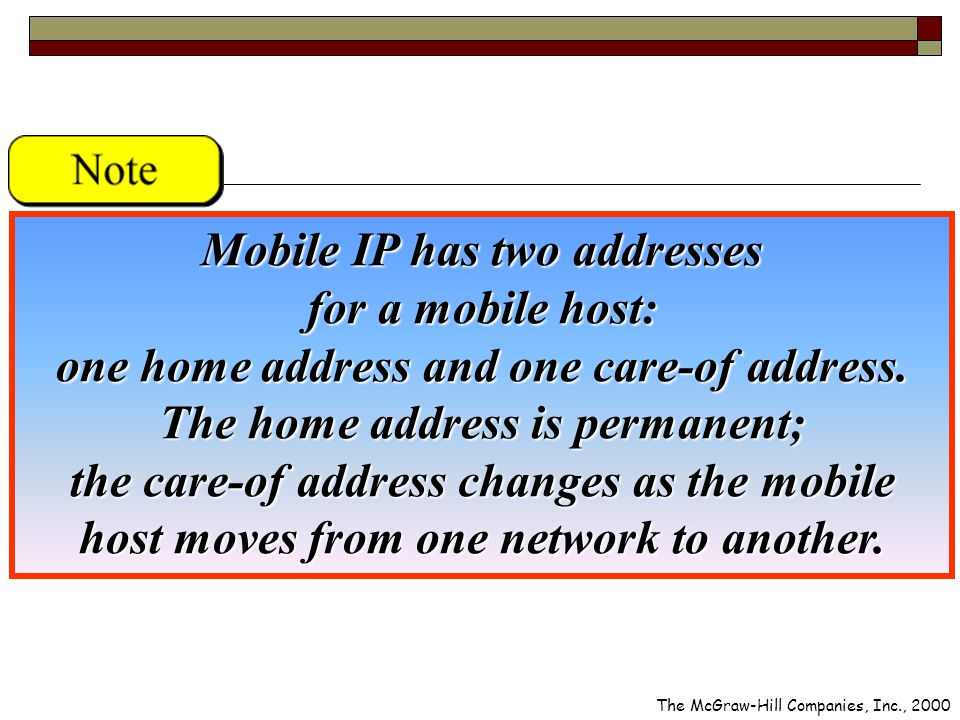 Mobile IP has two addresses for a mobile host: one home address and one care-of address.