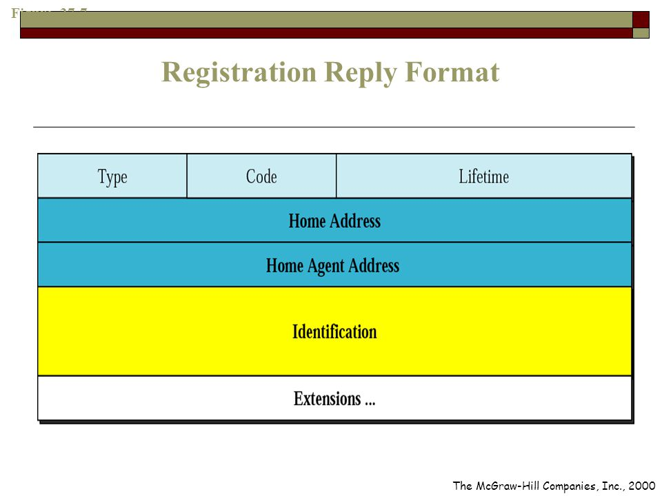 Figure 27-7 Registration Reply Format The McGraw-Hill Companies, Inc., 2000