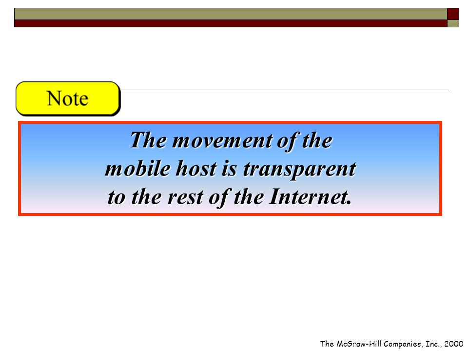 The movement of the mobile host is transparent to the rest of the Internet.