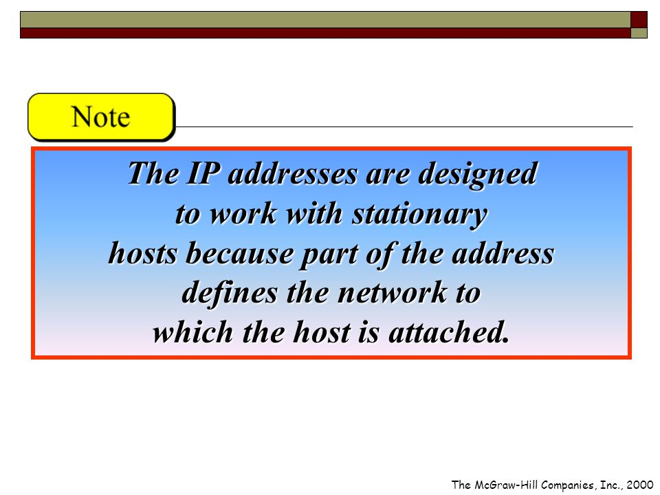 The IP addresses are designed to work with stationary hosts because part of the address defines the network to which the host is attached.