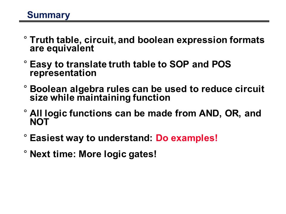 Summary °Truth table, circuit, and boolean expression formats are equivalent °Easy to translate truth table to SOP and POS representation °Boolean algebra rules can be used to reduce circuit size while maintaining function °All logic functions can be made from AND, OR, and NOT °Easiest way to understand: Do examples.